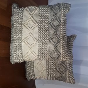Tufted wool throw pillows